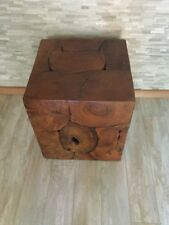 New Handcrafted Vintage Rusted Wooden Cube Table Wood Stump Side Accent Table
