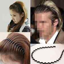 Unisex WOMEN Men Black Wave Hair Band Hood Headband Metal Sports Biker Hairband