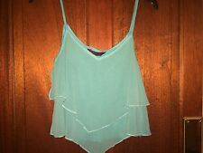 MISS SELFRIDGE Crop Top Size 8 - Turquoise Summer Beach Stretch Party Strappy