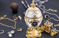 "Royal Imperial White Faberge Egg: Extra Large 6.6"" with Faberge carriage"