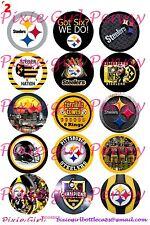 "15 Precut Pittsburgh Steelers logo team spirit & sayings 1"" Bottle Cap Images"