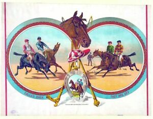 HORSE RACE  LARGE METAL TIN SIGN POSTER WALL PLAQUE  RETRO VINTAGE ART