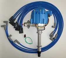 CORVETTE TACH DRIVE HEI Distributor & BLUE SPARK PLUG WIRES under Exhaust manifo