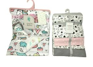 Carter's Magical Dreams UNICORN Blanket Lot Flannel Black White Pink Velour NWT