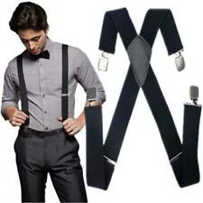 Fashion Elastic Suspenders Black Adjustable Braces Leather Clip-on Women Men