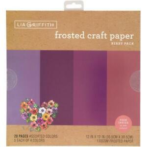"""Lia Griffith 12"""" Frosted Craft Paper Berry  12""""x12"""", 20pk"""