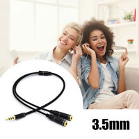 "Headphone Splitter Stereo Audio Jack Y-Adapter Cable 3.5mm 1/8"" Black~For Laptop"