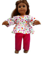 Flannel Pajamas 18 in Doll Clothes fits American Girl Dolls Colorful dots