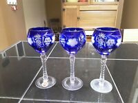 Crystal Cobalt Blue Wine Glasses. Kristal Superior 24% PbO. Yugoslavia