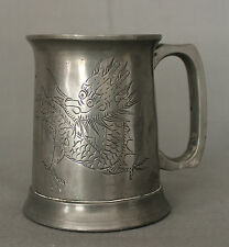 Antique Pewter Mug with Chinese Dragon and Glass Base