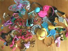 Mixed Fashion Doll Accessories: hats, head gear, brushes, jewelry, weapons, etc
