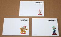 2015 Nintendo Amiibo 3 x Rare Promo Memo Pad Notepad Toad Bowser Luigi