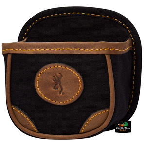 NEW BROWNING LONA CANVAS AND LEATHER SHELL BOX CARRIER POUCH BLACK BUCKMARK LOGO