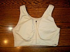 GENIE ZIP FRONT POST SURGERY MASTOPEXY STRETCH BEIGE BRA~REMOVABLE PADS~LARGE~