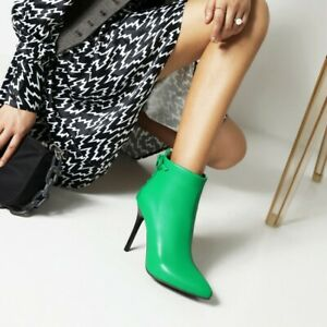 Women's Pointed Toe Slim High Heels Side Zipper Ankle Boots PU Leather Bow Shoes
