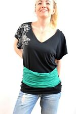 Guess Jeans Ladies Black Short Sleeved Green Bandeau Stretch Cotton Top XS NICE