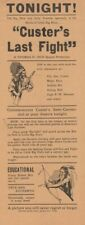 *GEORGE ARMSTRONG CUSTER: CUSTER'S LAST FIGHT RARE 1926 FILM BROADSIDE *