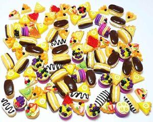 100 Dollhouse Miniature Mixed Sweet Bakery Food *Doll Mini Cake Pie Pancakes b12