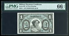 Series 691 $1 MPC Military Payment Certificate PMG Gem Uncirculated 66 EPQ