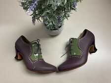 John Fluevog Leather Lace-Up Victorian Heel Booties Shoes Womans SZ 6.5 Worn 1X