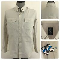 NWT Kuhl Airspeed Mens S Vented Wicking UPF30 Roll Tab Button Down Logo Shirt