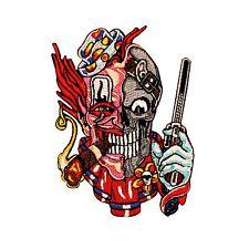 Skull Clown Gun Embroidered Iron On Biker Jacket Patch Applique