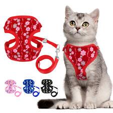Soft Mesh Padded Breathable Cat Walking Harness Vest & Lead Set Puppy Vest S L