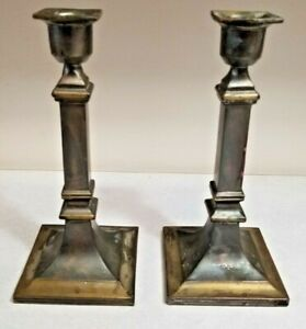 """7"""" Tall Square Base Candlesticks, Candleholders Footed Early - Pair"""