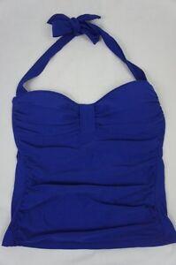 Tommy Bahama Tankini Top Sz XS Blue Ruched Bandeau Halter Top Swimwear TSW36413T