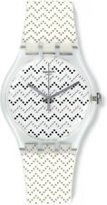 Swatch Unisex Wavey Dots Swiss Quartz White Plastic / Silicone Watch SUOK118