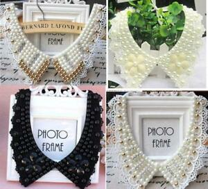 Women Detachable Vintage Lace Pearl beaded  Collar  Choker Necklace