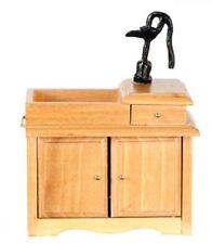 Dollhouse Furniture Kitchen Dining Room Wet Sink W/Pump Oak D2678A