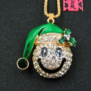 Betsey Johnson Green Rhinestone Smiling Face Crystal Pendant Chain Necklace