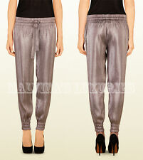 $1,300 GUCCI JOGGING PANTS GREY METALLIC LIQUID LAME DRAWSTRING WAIST 38 / US 2