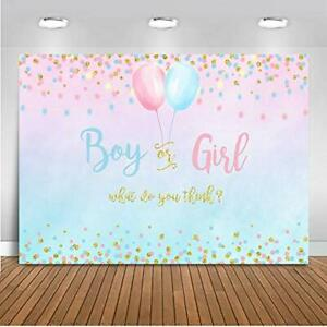 Boy Or Girl Gender Reveal Decoration BLUE PINK Dots Balloon Party Backdrop 5X3ft