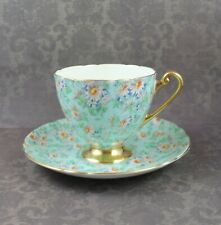 Vintage Shelley Mint Green Marquerite Floral Chintz Ripon Teacup and Saucer