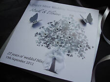 Handmade Personalised 25th Silver Wedding Anniversary Card Mum Dad Nan Grandad