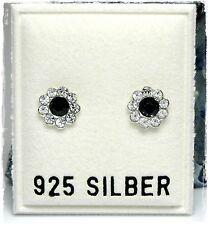 NEU 925 Silber OHRSTECKER Blume SWAROVSKI STEINE jet/schwarz/klar OHRRINGE
