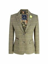 Women Classic Blazer Tweed Herringbone Tan Brown Slim Fit Vintage peaky blinders