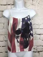 Wet Seal USA American Flag With Skull Crop Top Tank Size Medium