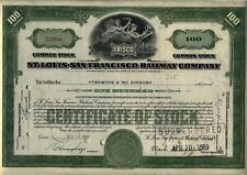 St. Louis San Francisco Railway Stock Certificate Railroad Frisco Green Missouri