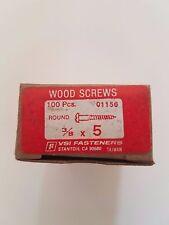 "Vintage Wood Screws - 100/Box - VSI Fasteners 3/8"" x 5 Slotted Round - 185 Boxes"