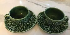 Vintage Secla Portugal  PAIR CUPS & SAUCERS -  Green cabbage leaf
