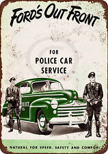 1947 Ford Police Cars Vintage Look Reproduction Metal Sign 8 x 12