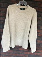 Beige Shetland Wool Sweater Large Pullover Fisherman Cardigan Itchy Scotland Woo