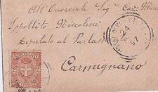 ITALIA 1897 2C ISOLATO SU BIGLIETTO DA VISITA PER CARMIGNANO FIRENZE