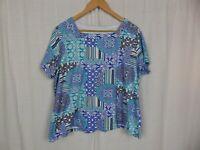 Kim Rogers Women's Printed Short Sleeve Tee Shirt Square Neckline Cotton Size 1X