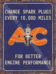 AC Spark Plugs Vintage 133 Engine Mechanic Old Advertising, Small Metal Tin Sign