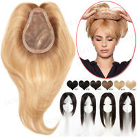 Women Toupee Clip In Remy Human Hair Silk Topper Hairpiece Extensions Highlight