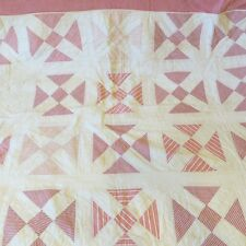 Antique Twin Patchwork Quilt Red White Primitive Devil's Puzzle Altered